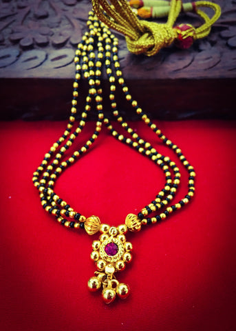 BLACK WITH GOLDEN BEADS MANGALSUTRA
