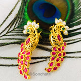 PEACOCK FEATHERS EARRING WITH PEARL
