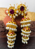 PEARL THREE LAYER JHUMKA