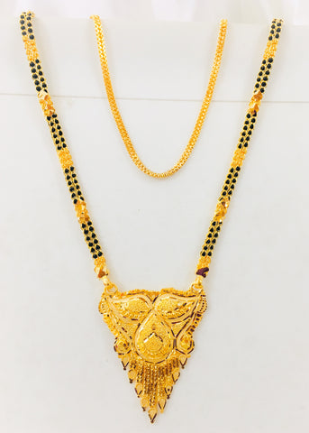 BLACK BEADS MANGALSUTRA WITH FLOWER PENDENT