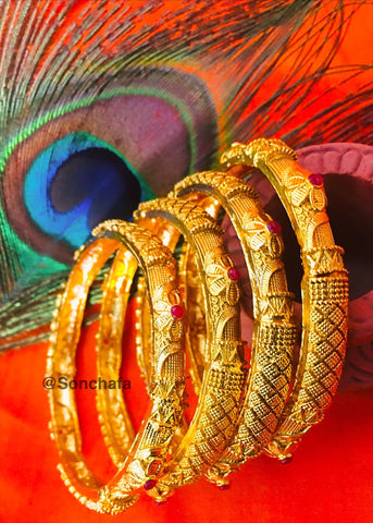 ANTIQUE DESIGNER 4 PC BANGLES