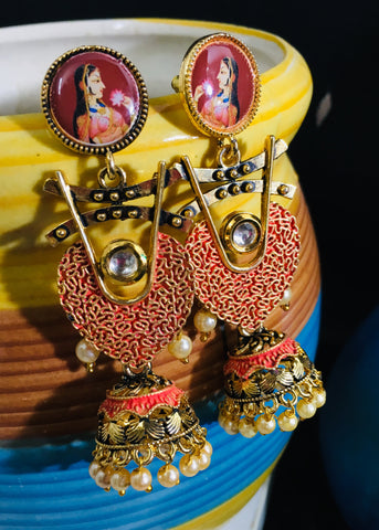 UNIQUE DESIGNER EARRINGS WITH JHUMKI