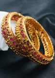 KEMP STONE WITH GOLDEN BEADS BANGLES