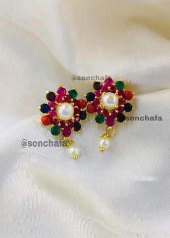 FANCY NAVRATAN STUDS