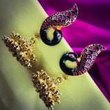 PEACOCK JHUMKI WITH MINA WORK