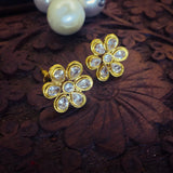 WHITE STONE FLORAL STUDS