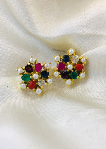 PEARL WITH NAVRATAN STUDS