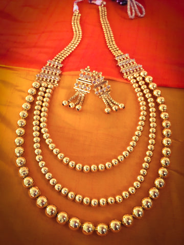 WONDERFUL TRI-LAYERED GOLDY BEADS NECKLACE