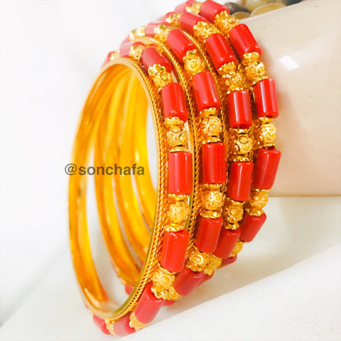 GOLDEN BEADS WITH PAVLA BANGLES