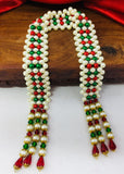 RED, GREEN PEARL BEADS SHAWL