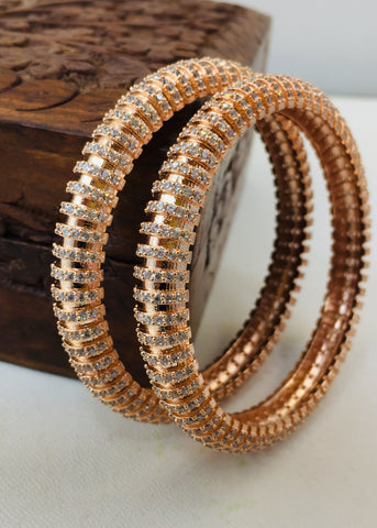 ROSE - GOLD FINISH DIA BANGLES