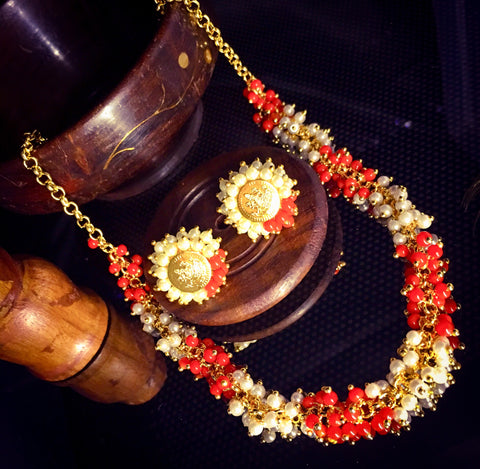 CORAL MOTI NECKLACE SET