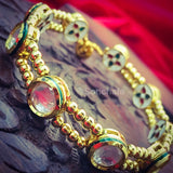KUNDAN WITH GOLDEN BEADS BRACELET