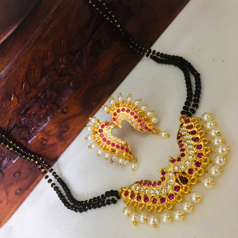 PUNERI MOTI DROPLET MANGALSUTRA WITH EARRINGS