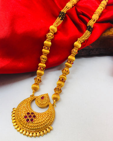 HALF MOON DESIGNER MANGALSUTRA WITH FREE BANARAS SILK SAREE