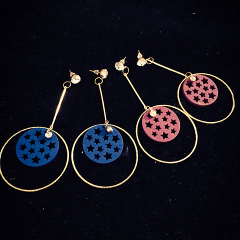 STAR WITH ROUND DESIGN EARRINGS