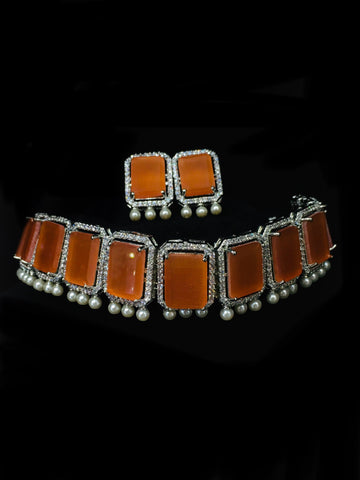 ORANGE COLOUR SILVER NECKLACE