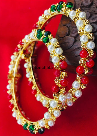 MULTI COLOUR PEARL BEADS BANGLES