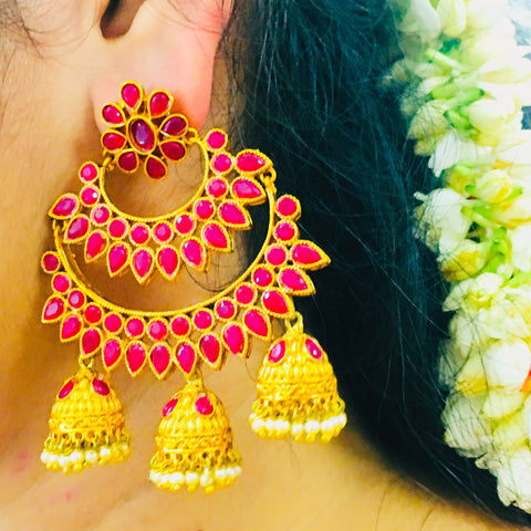 KEMP STONE TRIPLE JHUMKI EARRINGS