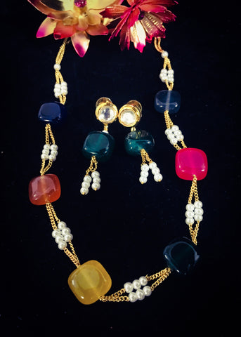 SQUARE COLOUR BEADS NECKLACE