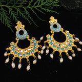 SKY BLUE WITH KUNDAN EARRINGS