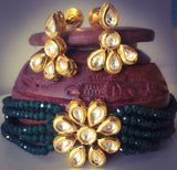 RED BEADS KUNDAN NECKLACE