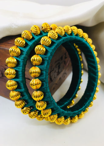 GREEN SILK THREAD BANGLES