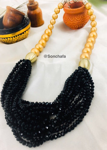 BLACK - GOLDEN CRYSTAL NECKLACE