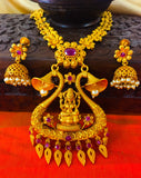 LAXMI TEMPLE PENDANT WITH EARRING NECKLACE SET