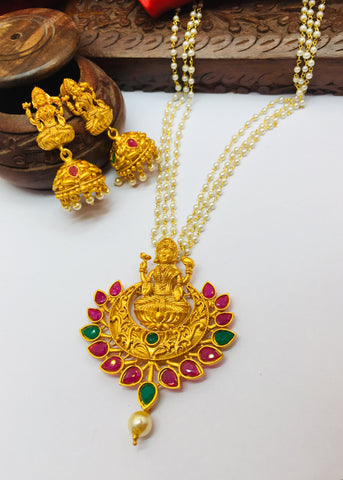 MATT GOLD FINISH LAXMI PENDANT NECKLACE