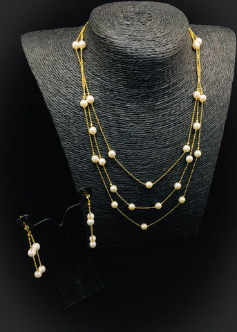 CHAIN PEARL BEADS NECKLACE