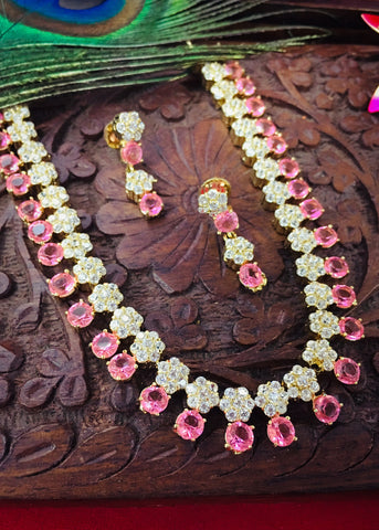 PINK COLOUR DIA NECKLACCE