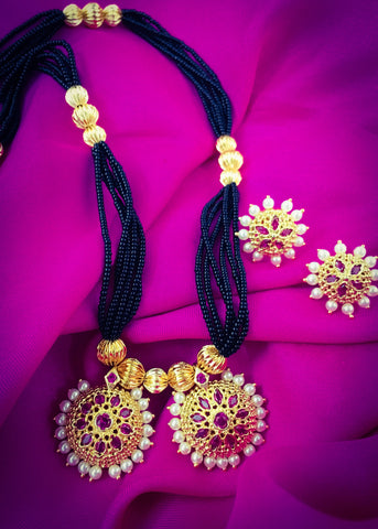 GOLDEN WITH PEARL BEADS MANGALSUTRA