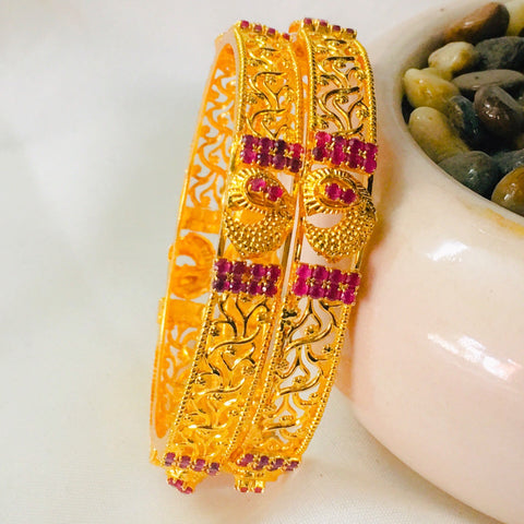 FANCY PINK STONE BANGLES