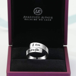 Thick Wrap 925 Sterling Silver 'I Am Enough' Ring-Awareness Avenue