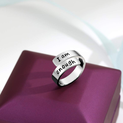 Thick Wrap 925 Sterling Silver 'I Am Enough' Ring