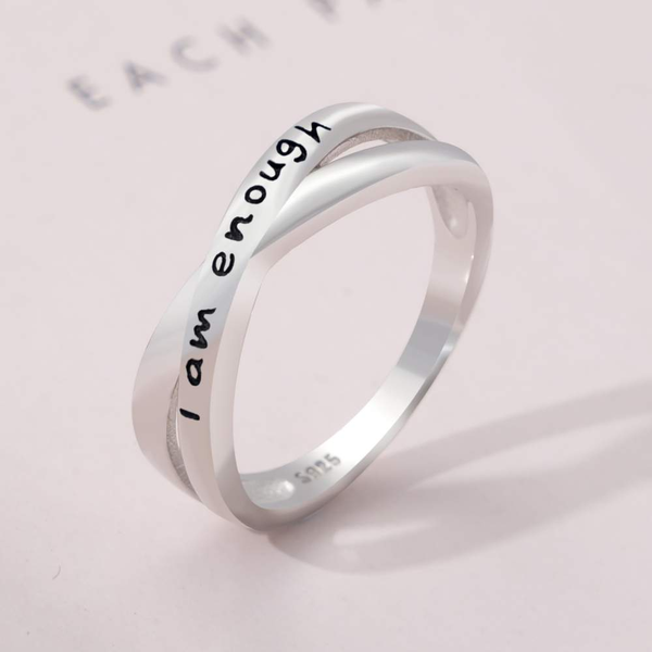 2021 Crossed Band 925 Sterling Silver 'I Am Enough' Ring