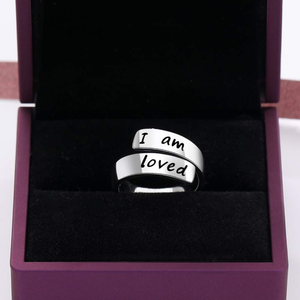 Wide Wrap 925 Sterling Silver 'I Am Loved' Ring