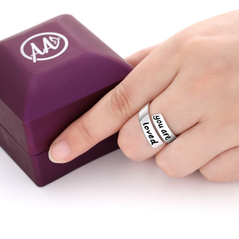 Wide Wrap 925 Sterling Silver 'You Are Loved' Ring