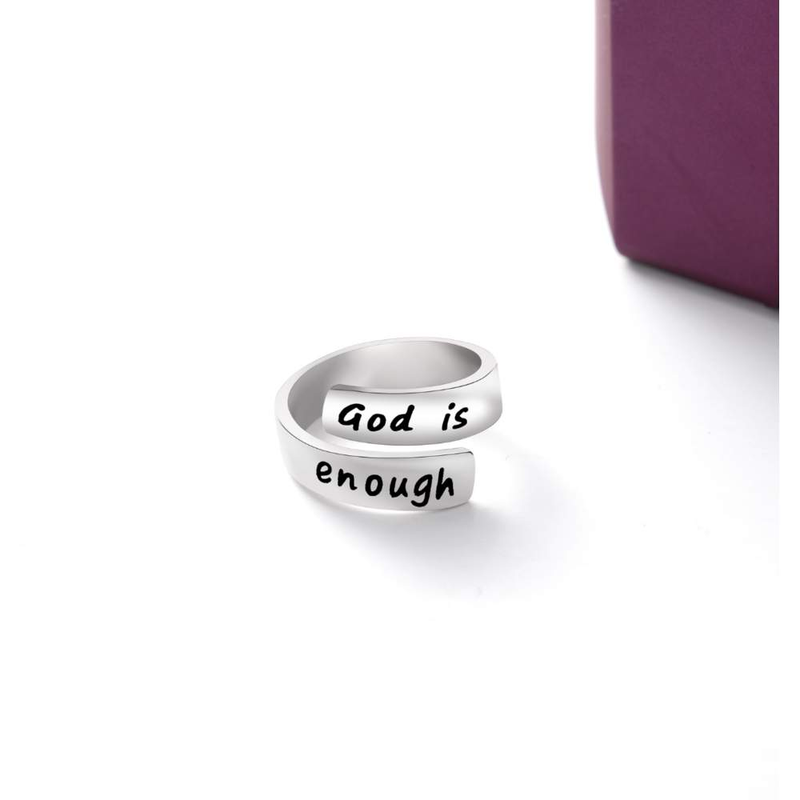 Thick Wrap 925 Sterling Silver 'God Is Enough' Ring