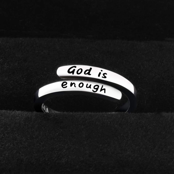 Thin Wrap 925 Sterling Silver 'God Is Enough' Ring
