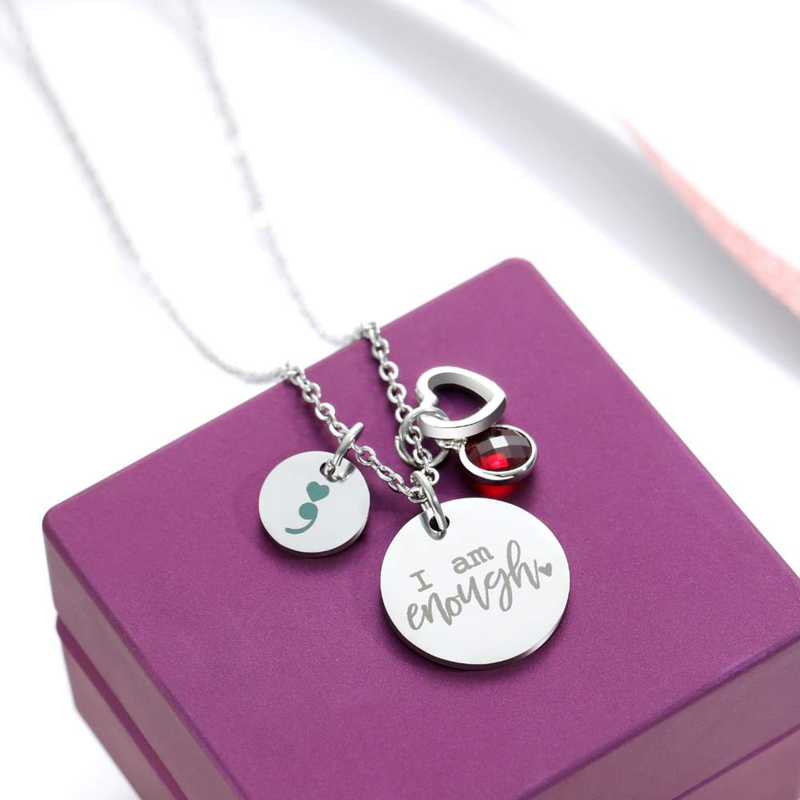 Birthstone 'I Am Enough' Necklace