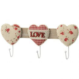 3 Way Coat Hook With Fabric Love Design