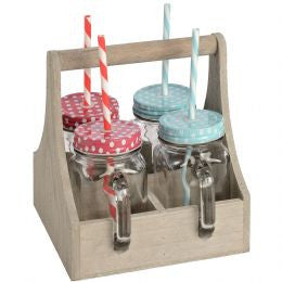 4 Colourful Drinking Jars in Wooden Carry