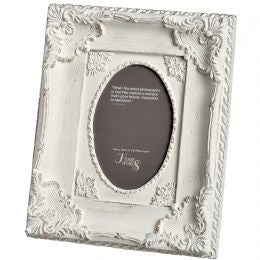 4x6 Ornate Antique White Oval Photo Frame