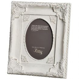 5x7 Ornate Antique White Oval Photo Frame