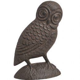 Antique brown cast iron owl design door stop