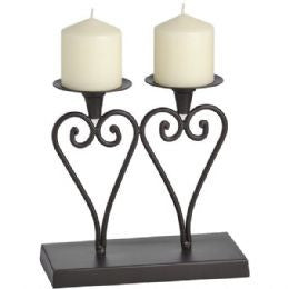 Antique brown double heart candleholder