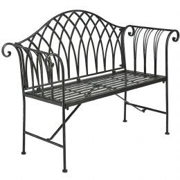 Antique brown iron garden bench