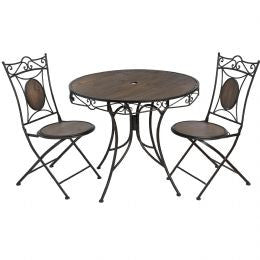 Antique brown iron garden bistro table with two chairs